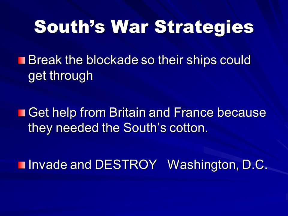 South's War Strategies
