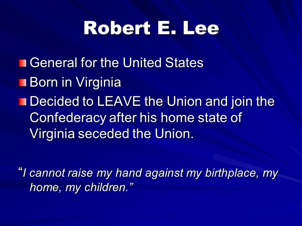 Robert E. Lee General for the United States Born in Virginia