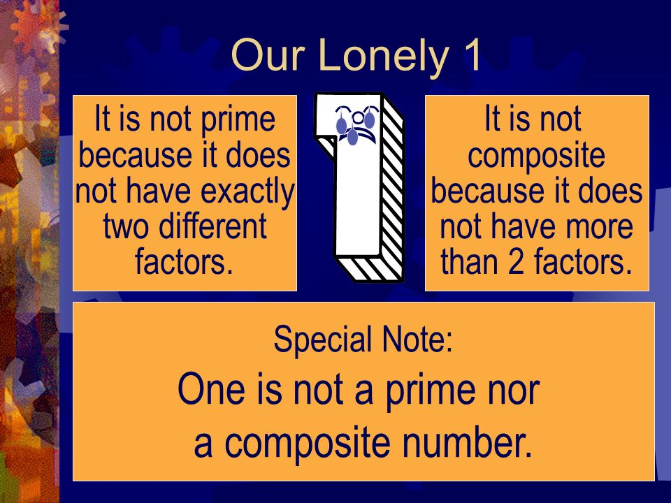 Our Lonely 1 One is not a prime nor a composite number.