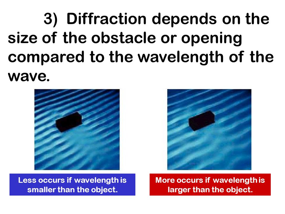 3) Diffraction depends on the size of the obstacle or opening compared to the wavelength of the wave.