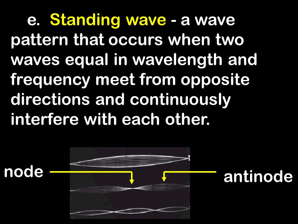 e. Standing wave - a wave pattern that occurs when two waves equal in wavelength and frequency meet from opposite directions and continuously interfere with each other.