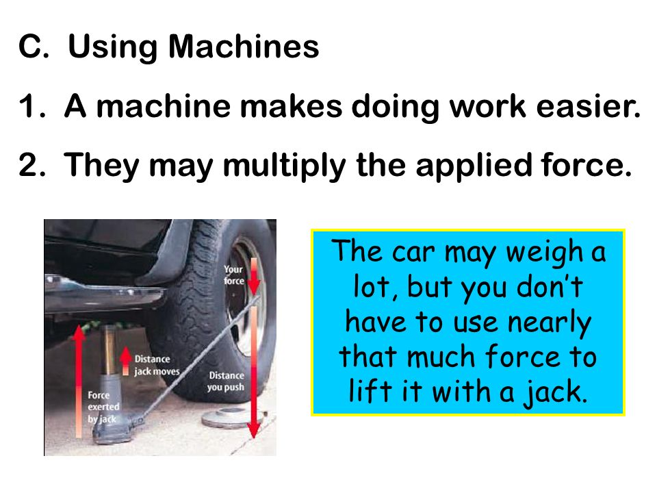 1. A machine makes doing work easier.