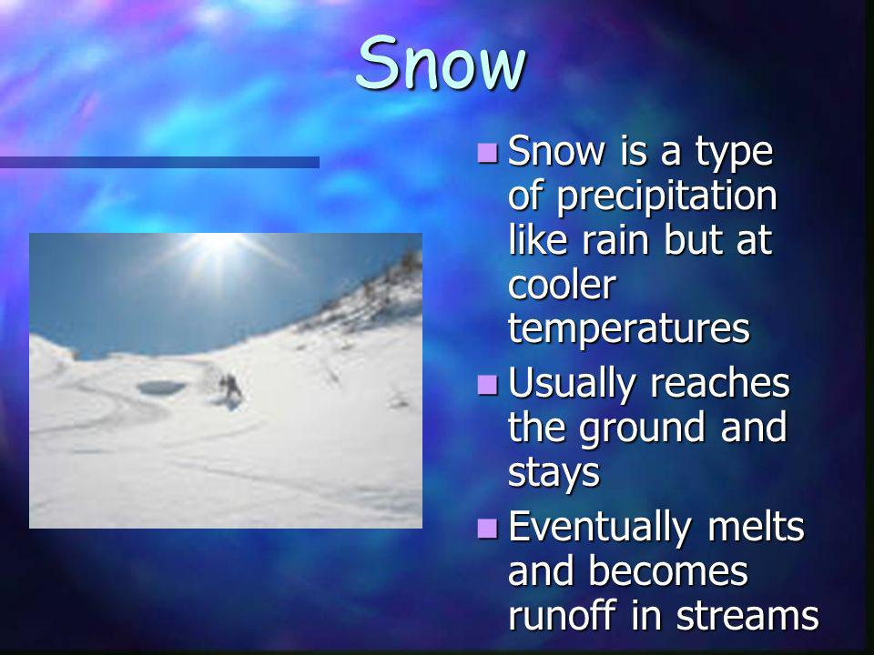 Snow Snow is a type of precipitation like rain but at cooler temperatures. Usually reaches the ground and stays.