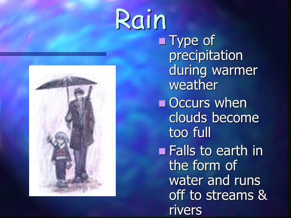 Rain Type of precipitation during warmer weather