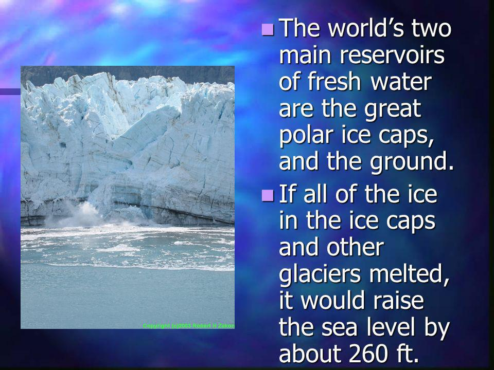 The world's two main reservoirs of fresh water are the great polar ice caps, and the ground.
