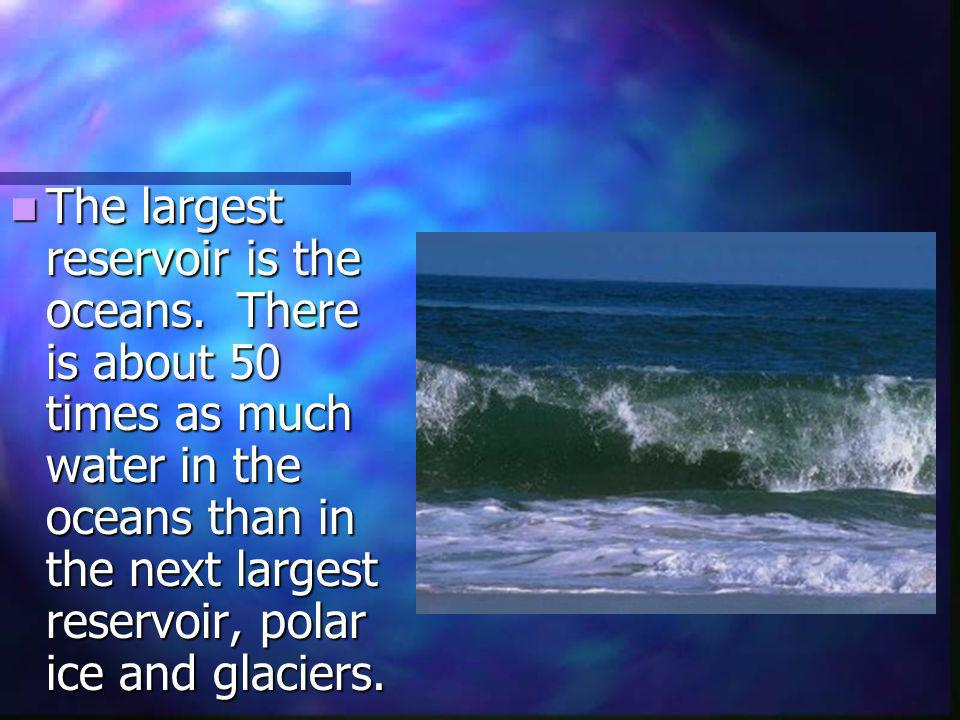 The largest reservoir is the oceans