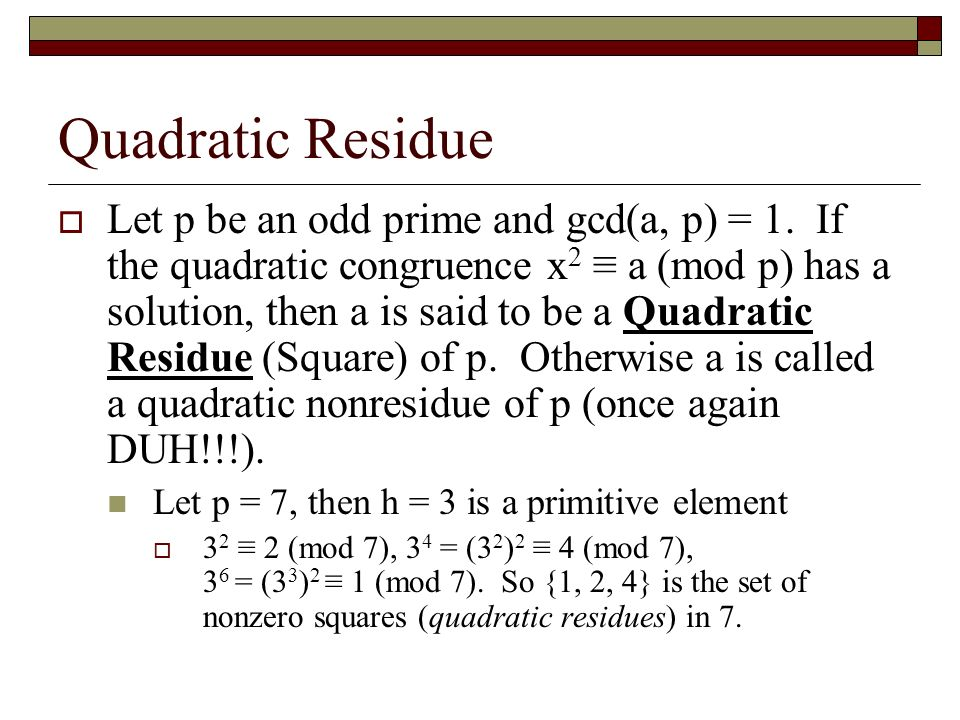 Quadratic Residue