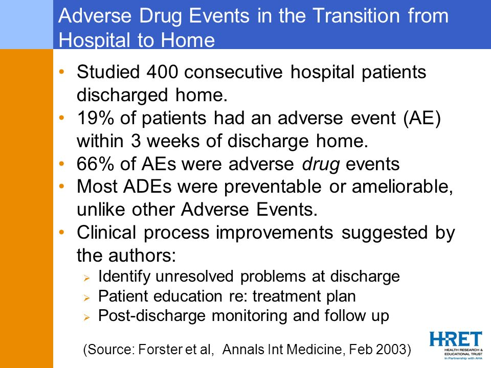 Adverse Drug Events in the Transition from Hospital to Home