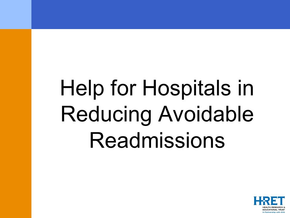 Help for Hospitals in Reducing Avoidable Readmissions