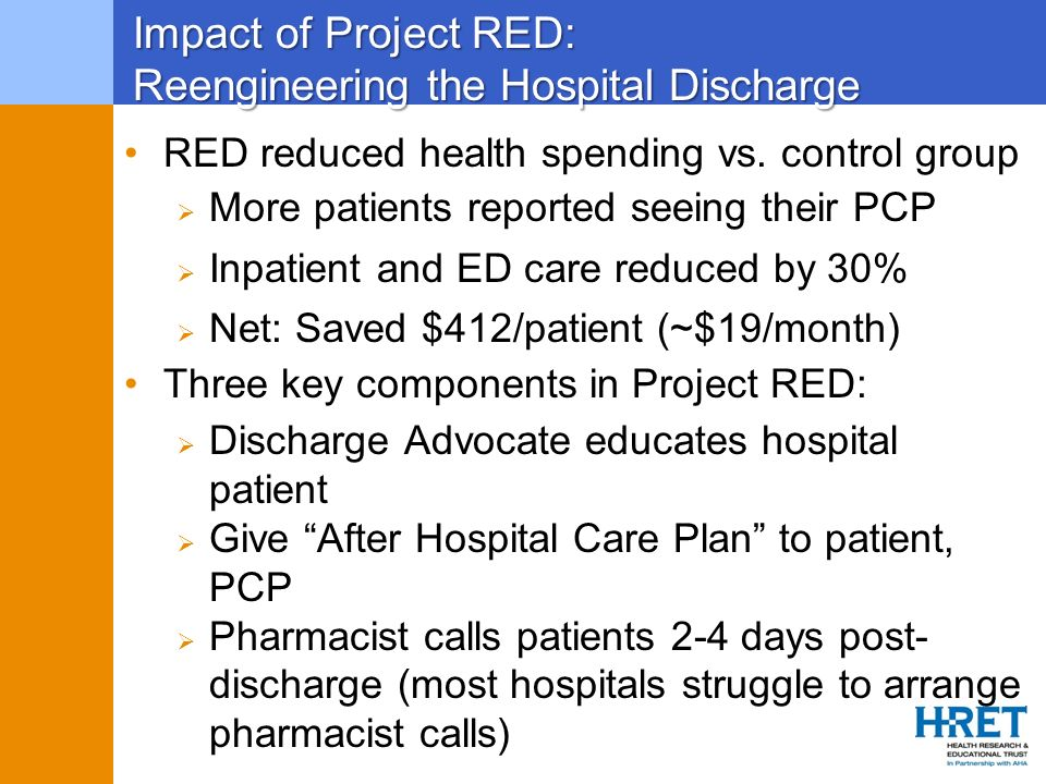 Impact of Project RED: Reengineering the Hospital Discharge