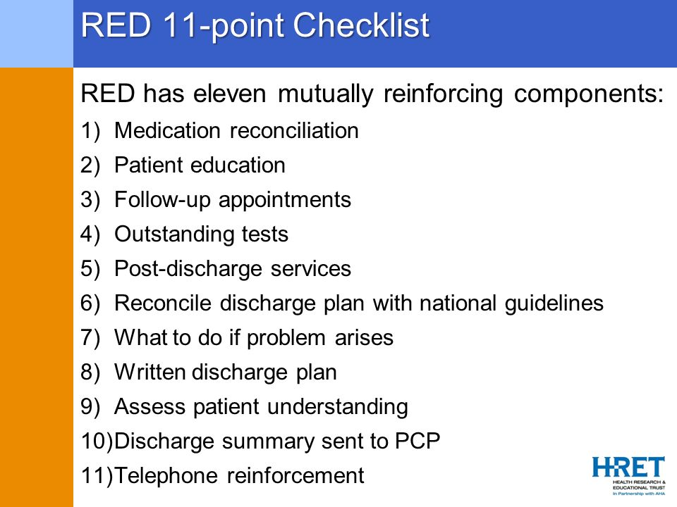 RED 11-point Checklist RED has eleven mutually reinforcing components: