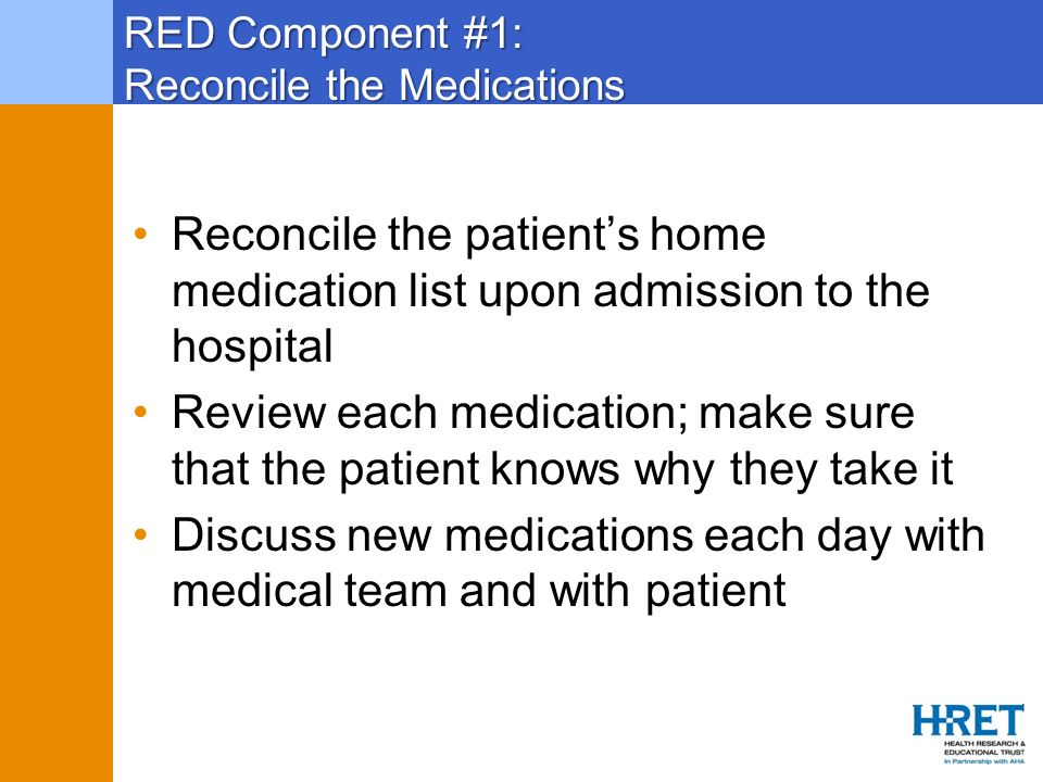RED Component #1: Reconcile the Medications