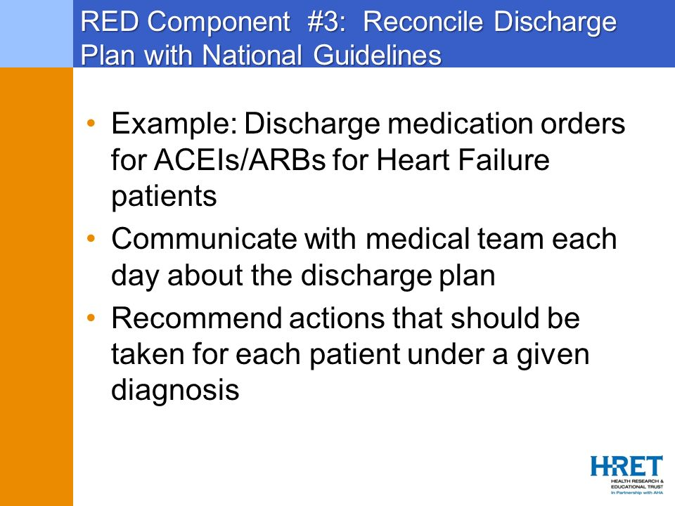 RED Component #3: Reconcile Discharge Plan with National Guidelines