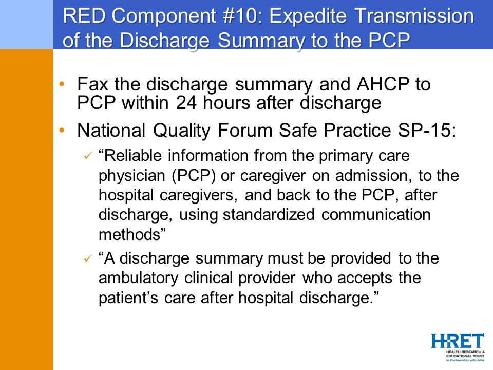 RED Component #10: Expedite Transmission of the Discharge Summary to the PCP