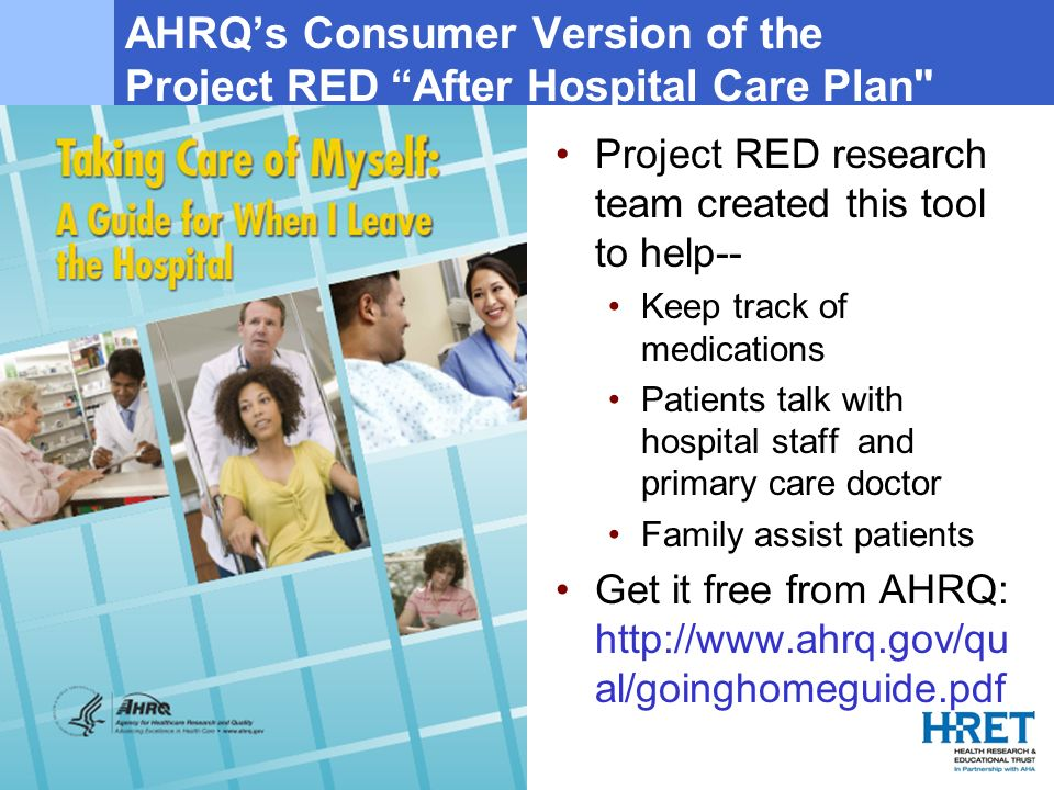AHRQ's Consumer Version of the Project RED After Hospital Care Plan