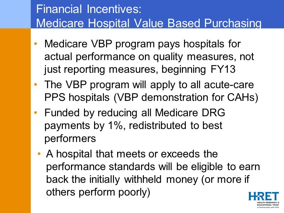 Financial Incentives: Medicare Hospital Value Based Purchasing