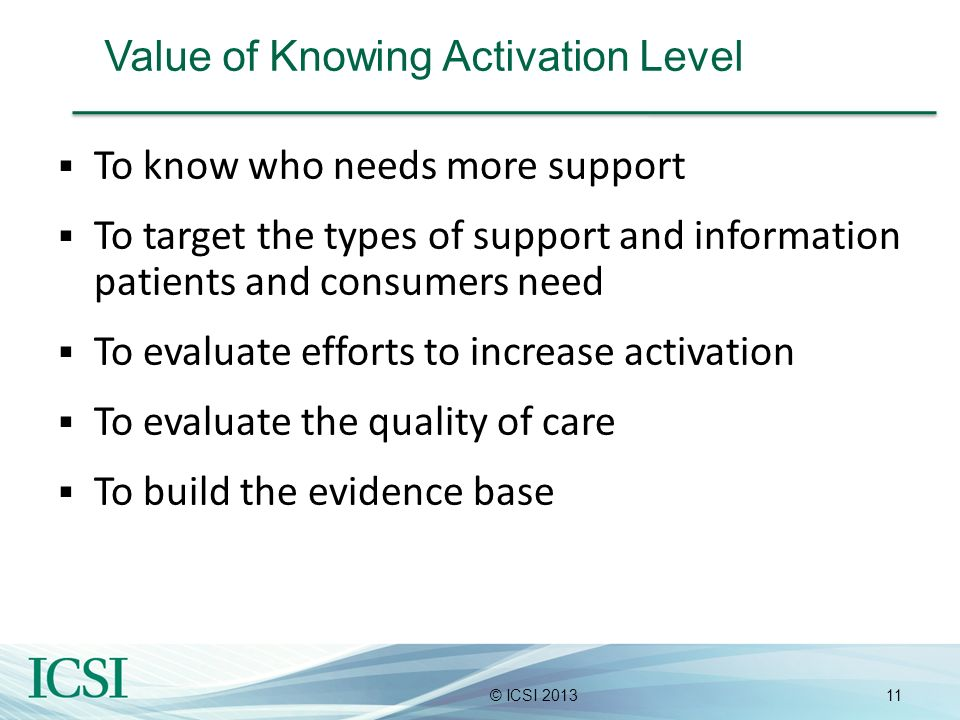 Value of Knowing Activation Level