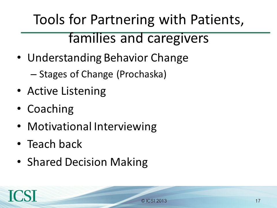 Tools for Partnering with Patients, families and caregivers