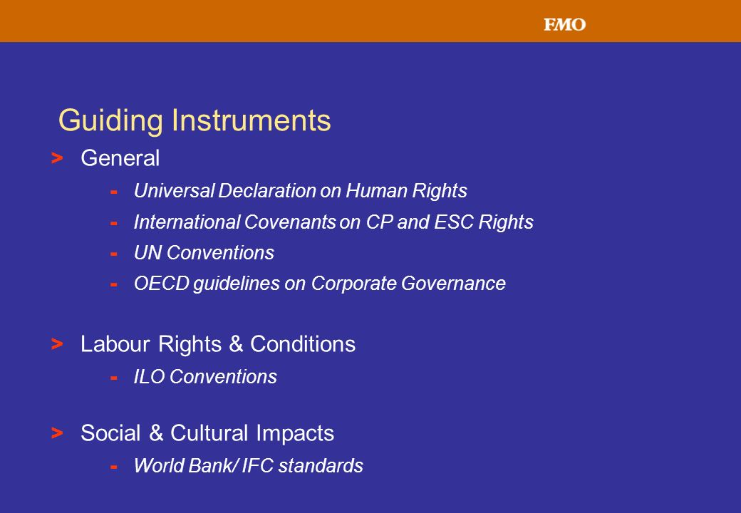 Guiding Instruments General Labour Rights & Conditions