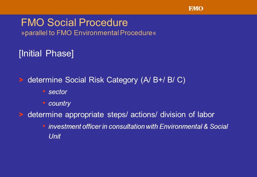 FMO Social Procedure »parallel to FMO Environmental Procedure«
