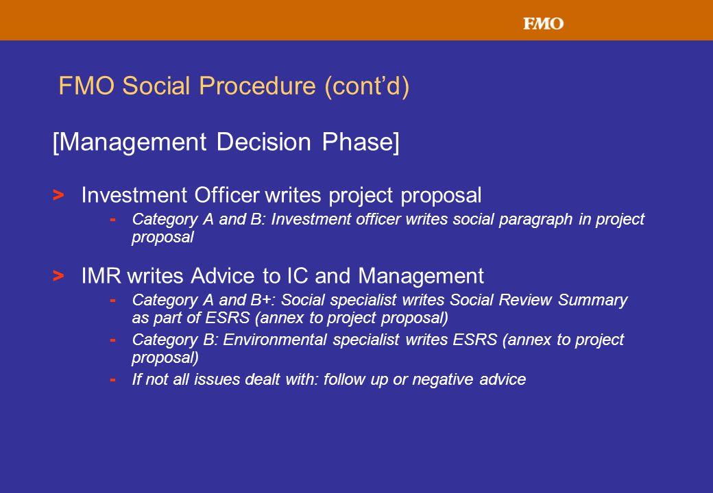 FMO Social Procedure (cont'd)