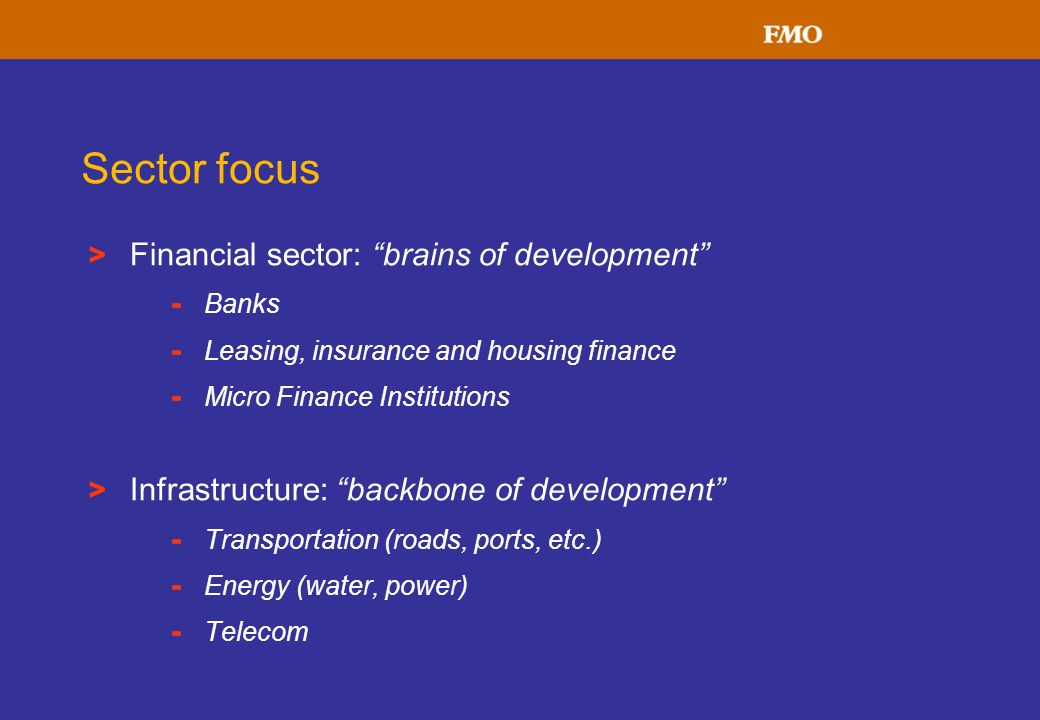 Sector focus Financial sector: brains of development