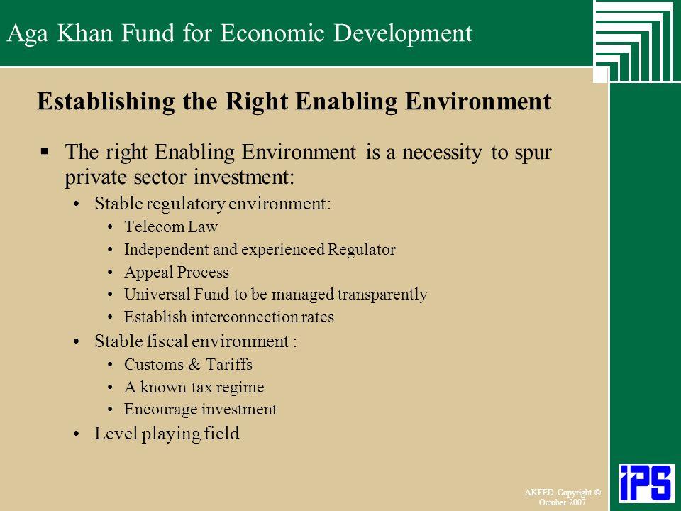 Establishing the Right Enabling Environment