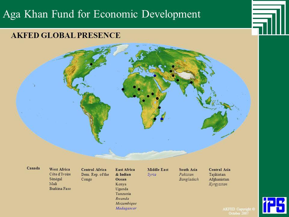AKFED GLOBAL PRESENCE Canada West Africa Côte d'Ivoire Sénégal Mali