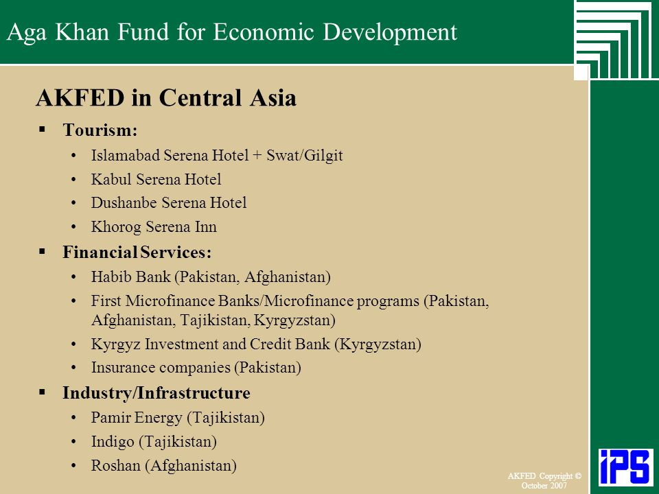 AKFED in Central Asia Tourism: Financial Services: