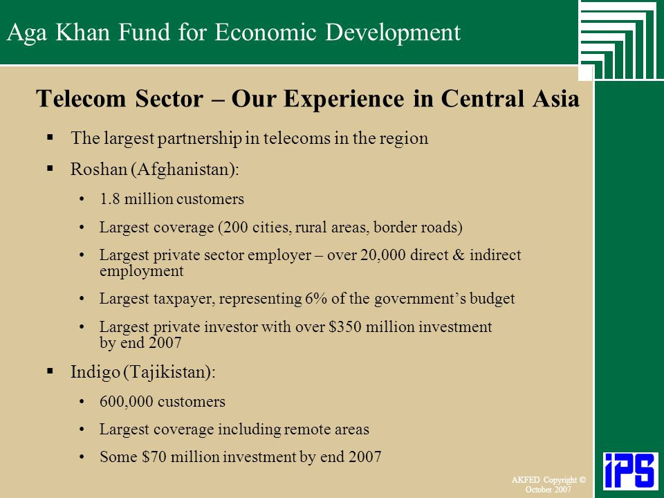 Telecom Sector – Our Experience in Central Asia