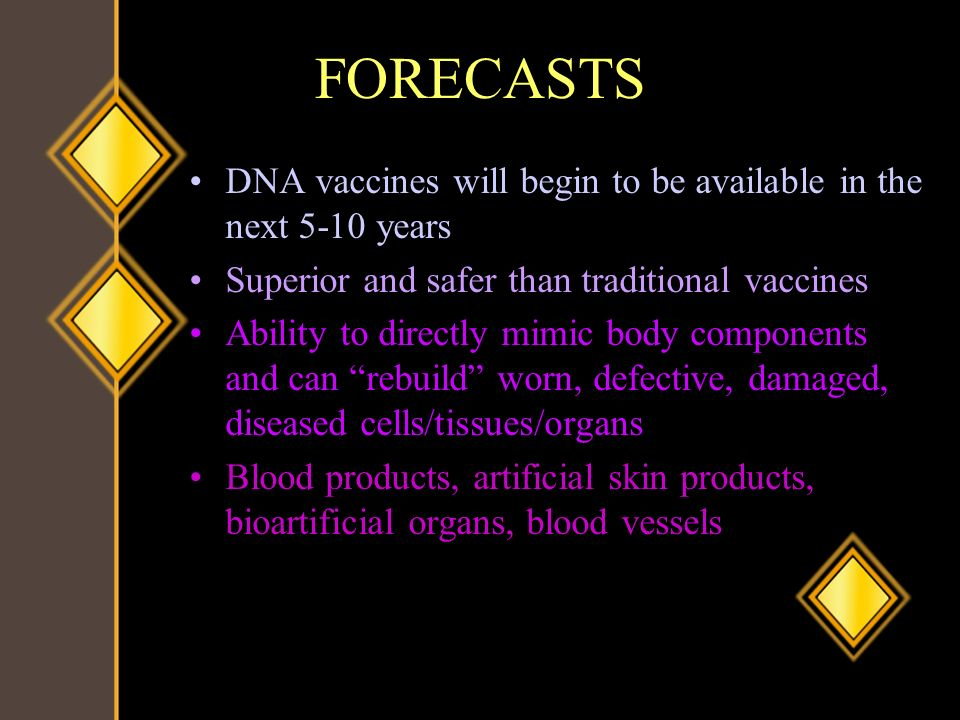 FORECASTS DNA vaccines will begin to be available in the next 5-10 years. Superior and safer than traditional vaccines.
