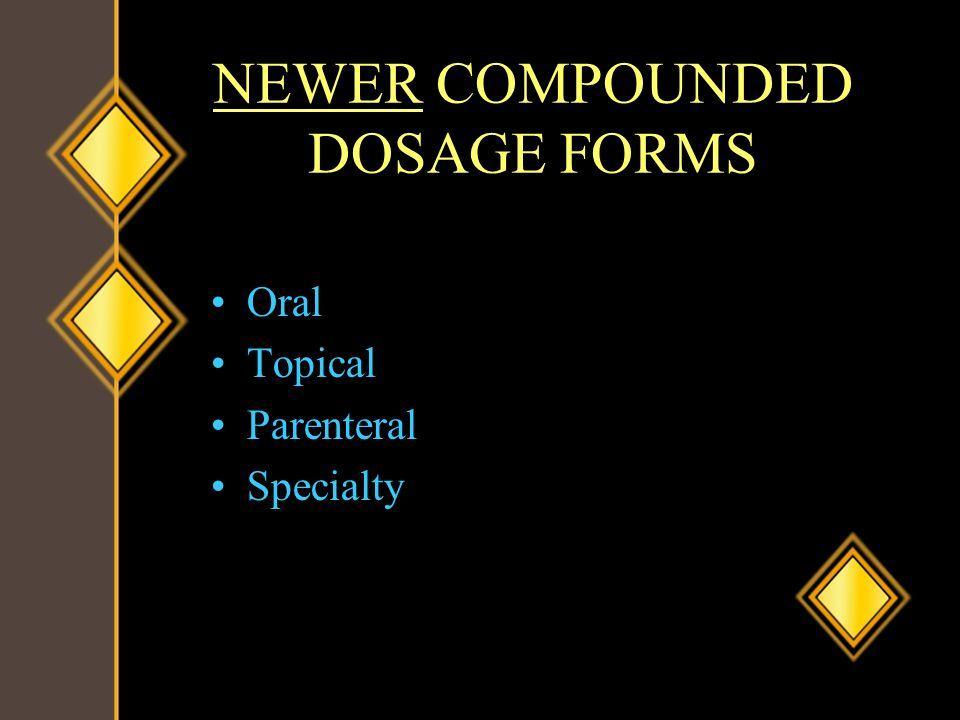 NEWER COMPOUNDED DOSAGE FORMS