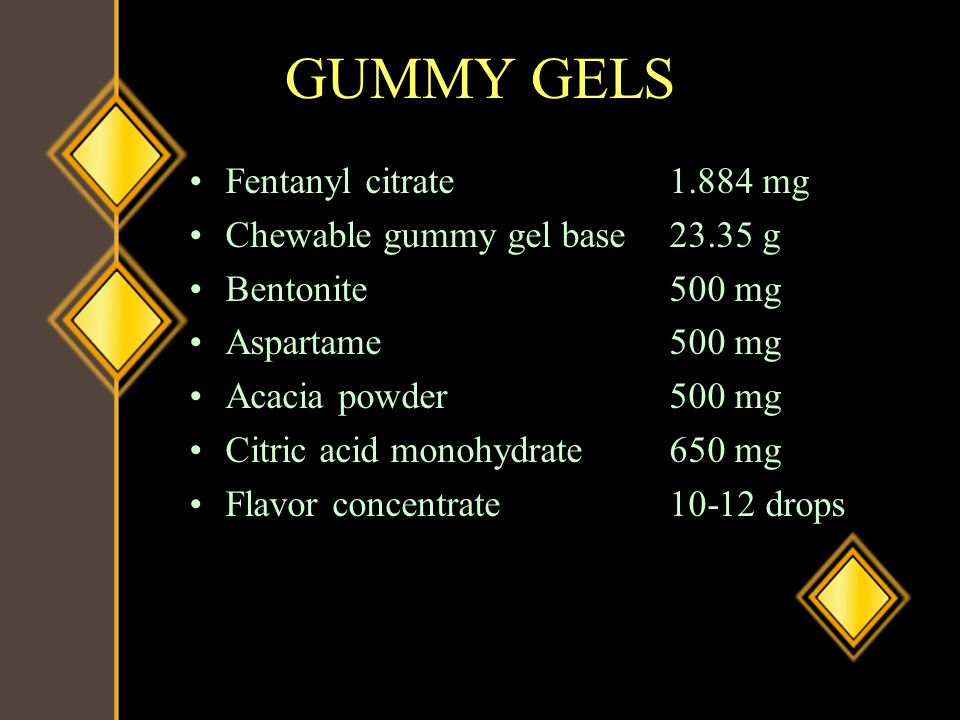 GUMMY GELS Fentanyl citrate mg Chewable gummy gel base g