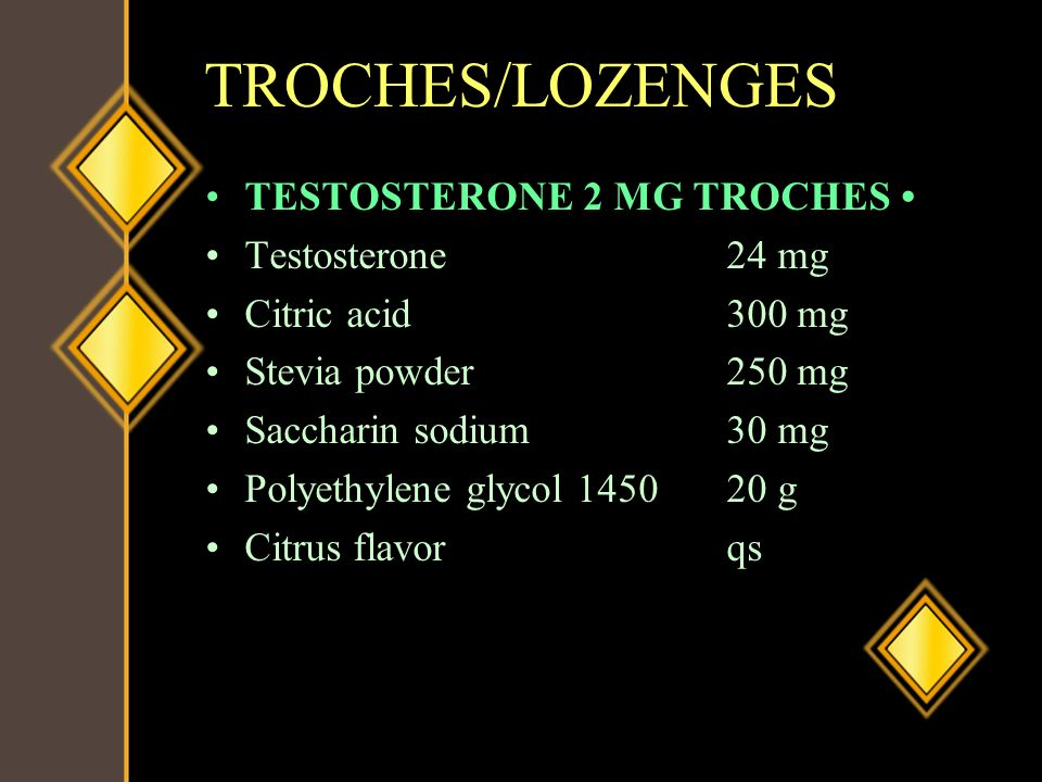 TROCHES/LOZENGES TESTOSTERONE 2 MG TROCHES • Testosterone 24 mg