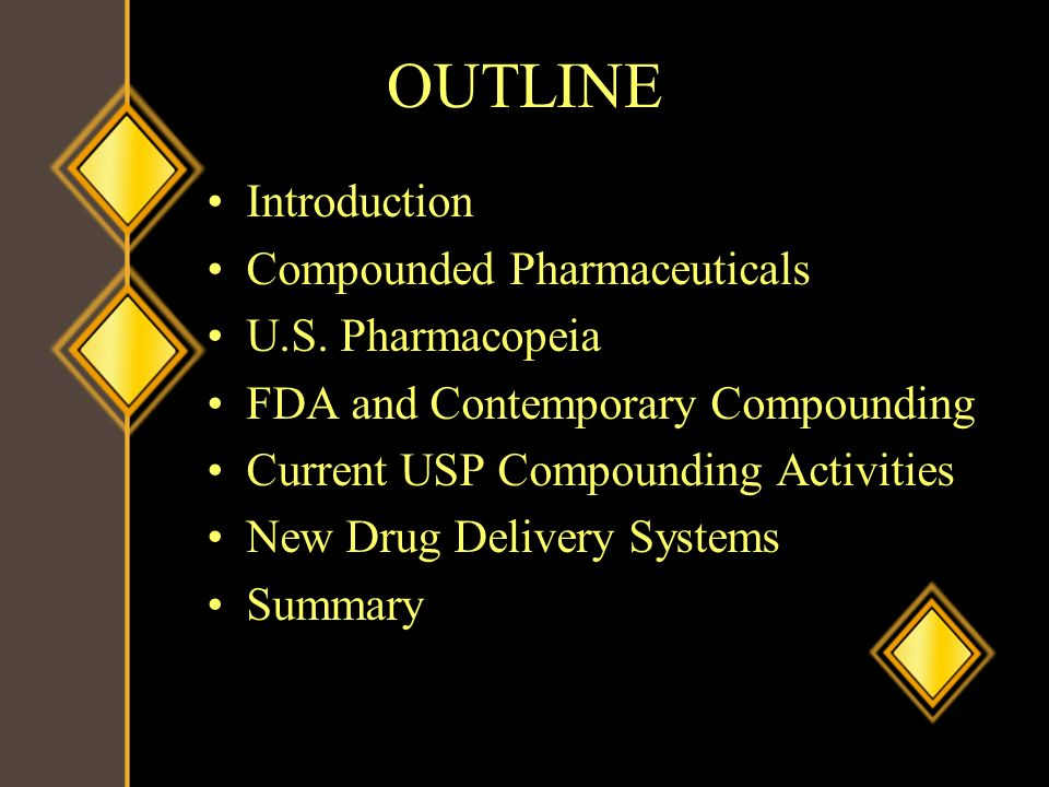 OUTLINE Introduction Compounded Pharmaceuticals U.S. Pharmacopeia