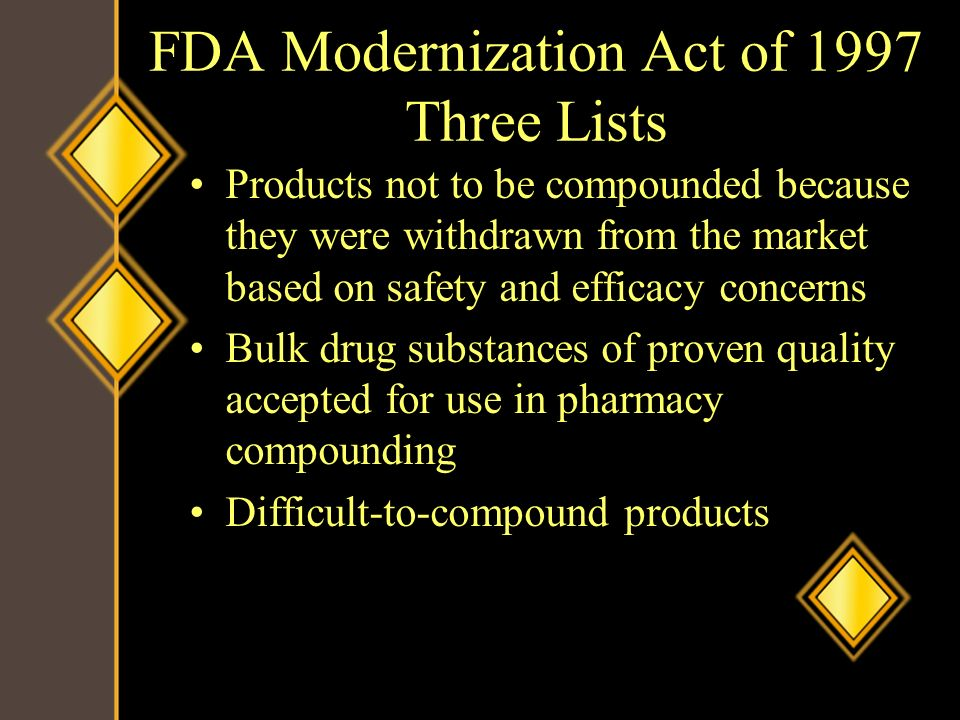 FDA Modernization Act of 1997 Three Lists
