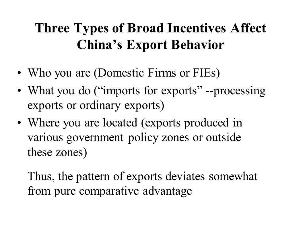 Three Types of Broad Incentives Affect China's Export Behavior