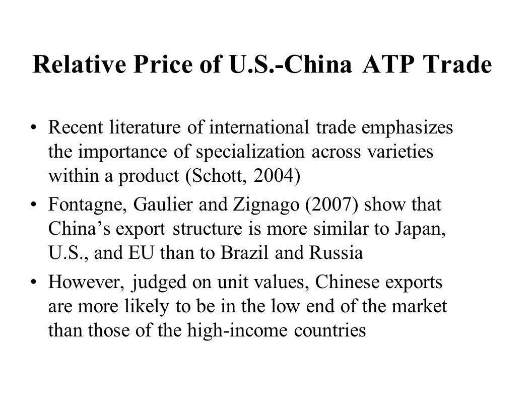 Relative Price of U.S.-China ATP Trade