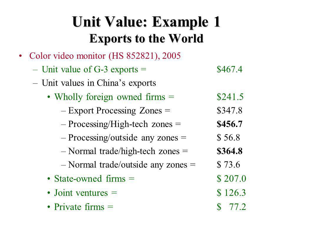 Unit Value: Example 1 Exports to the World