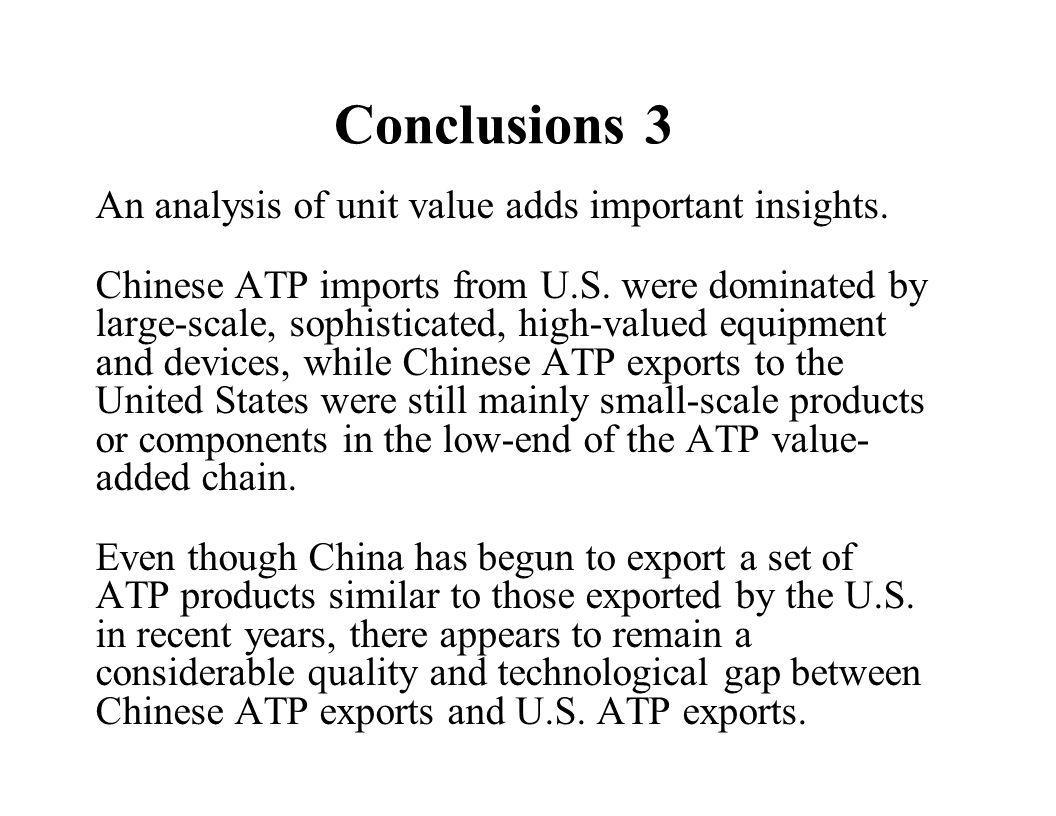 Conclusions 3 An analysis of unit value adds important insights.