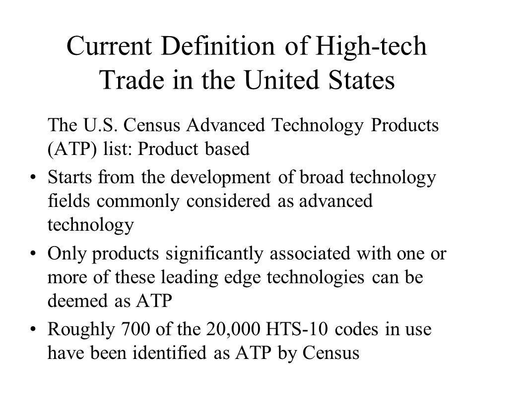 Current Definition of High-tech Trade in the United States