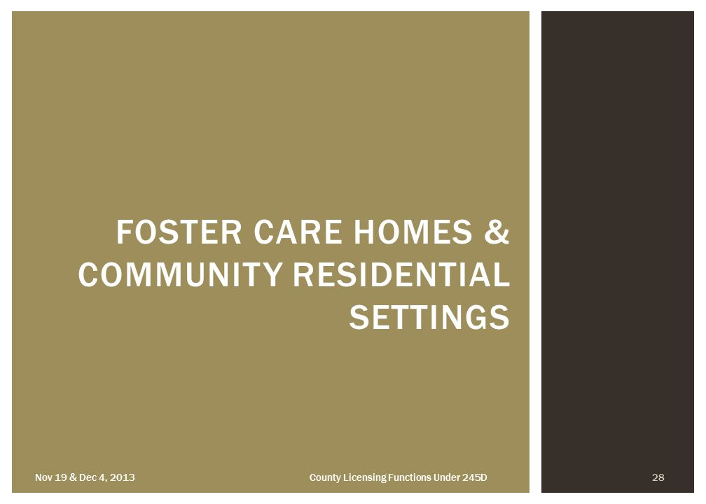 the care of people in a residential setting A residential setting where older people live and receive personal care.