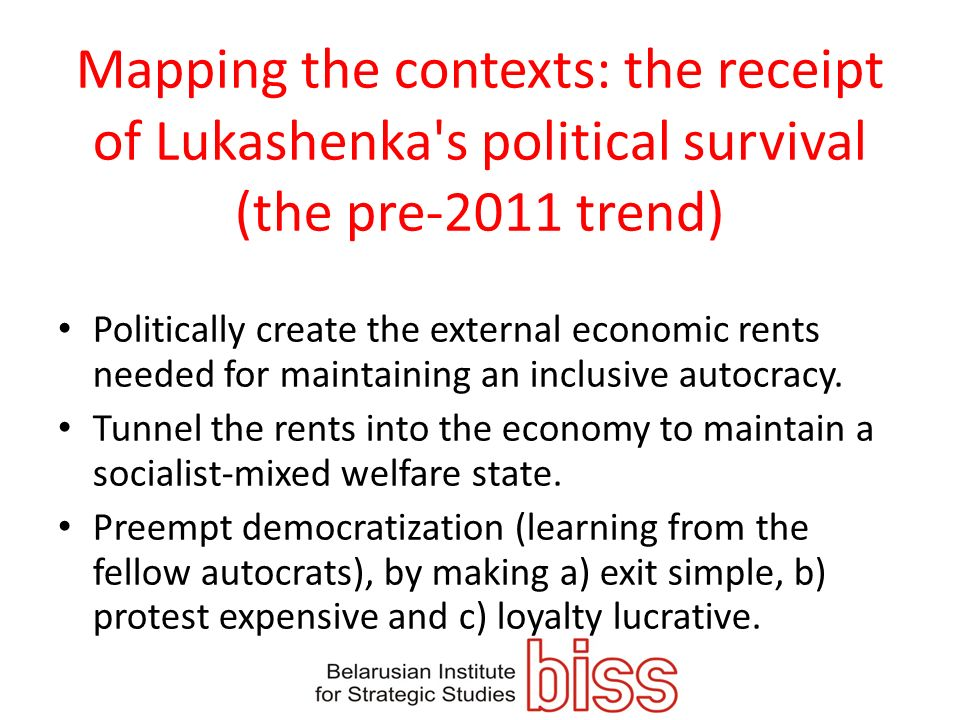 Mapping the contexts: the receipt of Lukashenka s political survival (the pre-2011 trend)