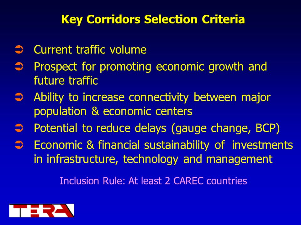 Key Corridors Selection Criteria
