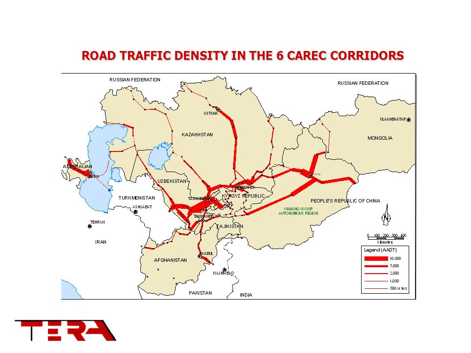 ROAD TRAFFIC DENSITY IN THE 6 CAREC CORRIDORS