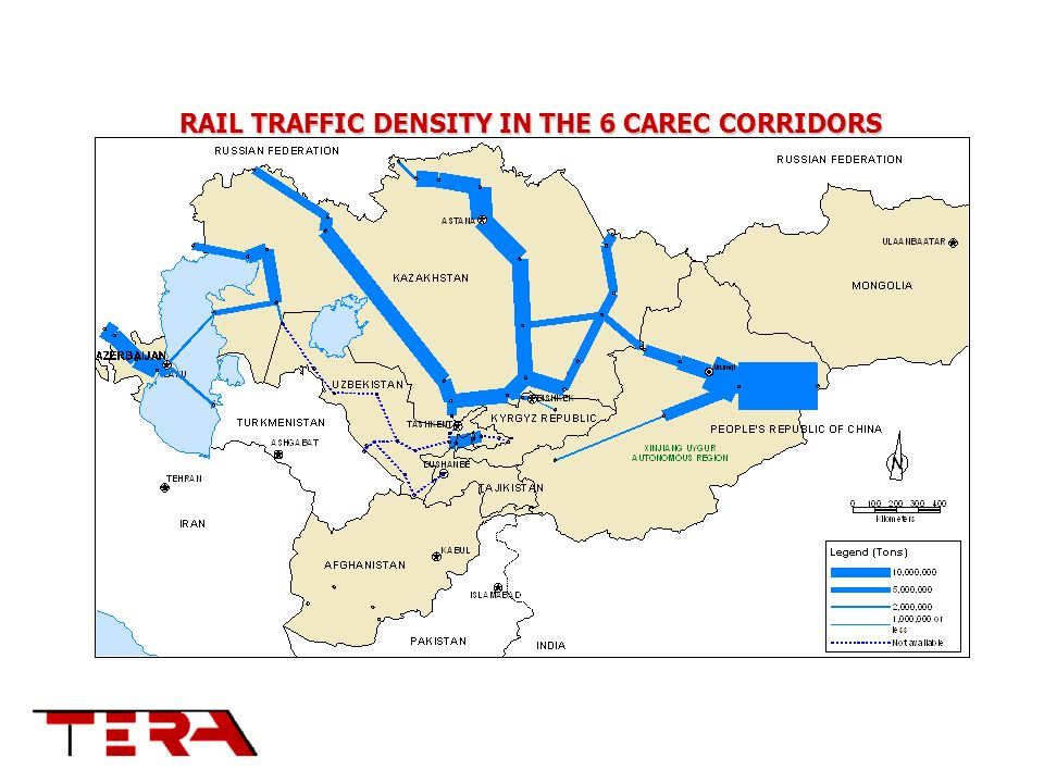 RAIL TRAFFIC DENSITY IN THE 6 CAREC CORRIDORS