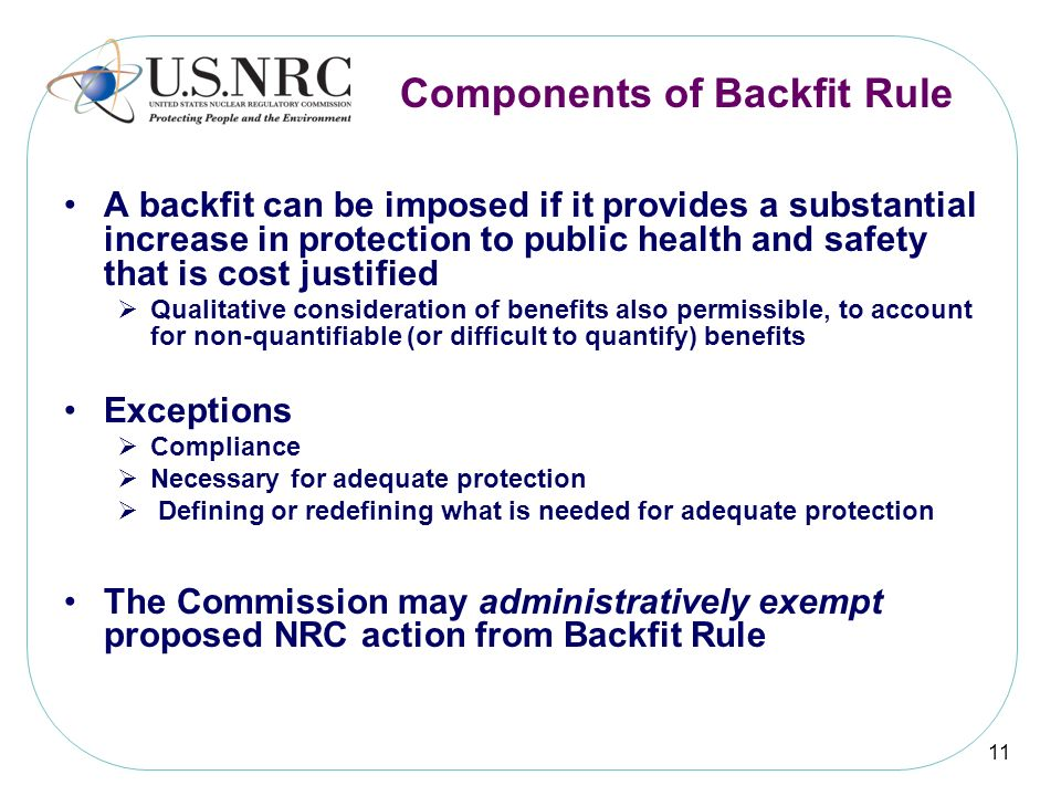 Components of Backfit Rule