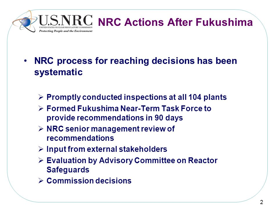 NRC Actions After Fukushima