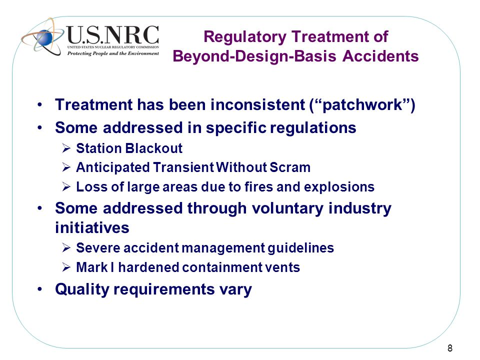 Regulatory Treatment of Beyond-Design-Basis Accidents