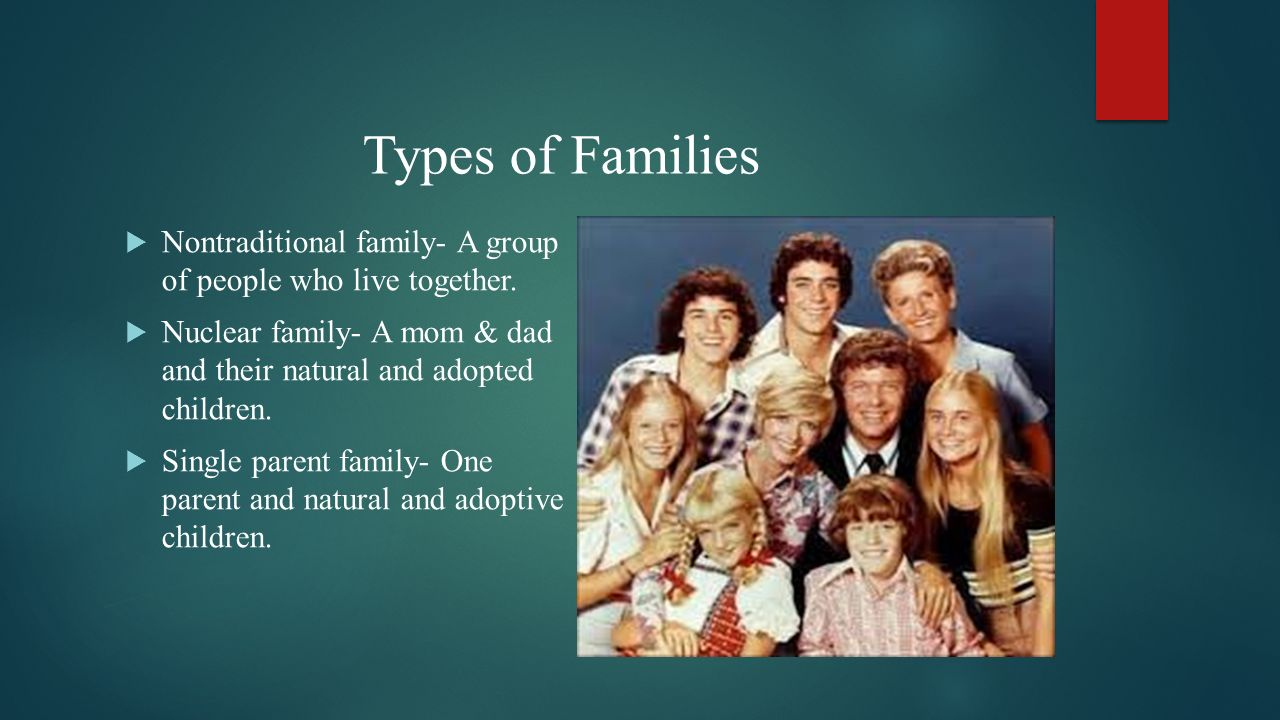 Types of Families Nontraditional family- A group of people who live together. Nuclear family- A mom & dad and their natural and adopted children.